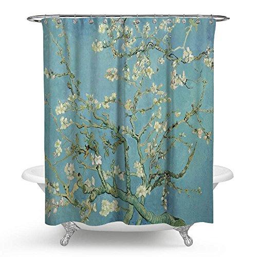 kisy Van Gogh apricot Blume wasserdicht Bad Duschvorhang Art Oil Painting Badezimmer Dusche Vorhang Standard Größe 177,8x 177,8cm türkis