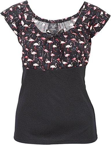 Küstenluder Damen Oberteil Dixie Flamingo Palmen Bluse Schwarz L