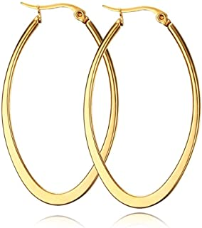 Sponsored Ad - Stainless Steel Gold Thin and Flat Big Large Oval Spring loaded Hoop Earrings…