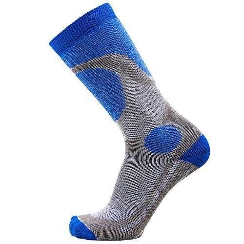 Pure Athlete Elite Ski Socks for Boys and Girls - Kids Merino Wool Youth Snowboard and Skiing Socks - Junior Warm Winter Sock (S/M, Blue)