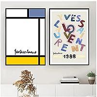 ZNNHEROモダンカラフルブルーイエロー抽象線幾何学的な愛のキャンバス絵画壁の絵ポスターリビングルームの家の装飾のためのプリント-40X60Cmx2フレームなし