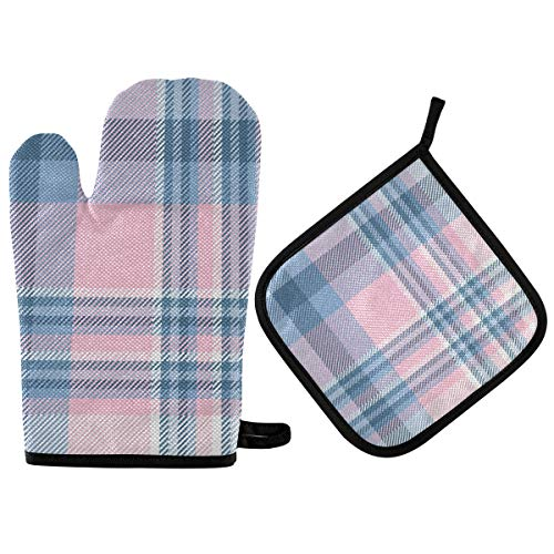 BOOBERT Oven Mitts and Pot Holder Oven Gloves Vintage British Pink Blue Plaid Non-Slip Hot Pads Insulation Gloves Heat Resistant Kitchen Set for Cooking Baking Grilling BBQ