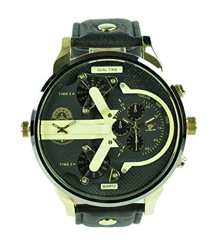 NY London Men's Wrist Watch, 2 Time Zone Gold Black Face Buckle Analog Display Quartz Movement with Black PU Leather Strap NY-London-Men
