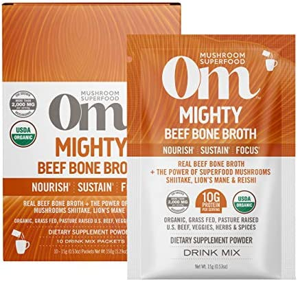 Om Organic Mushroom Nutrition Superfood Protein Drink Mix Mighty Beef Bone Broth 5 29 Ounce product image