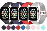 AK 4er-Set Kompatible Für Apple Watch Armband 38mm 42mm 40mm 44mm, Weiche Silikon Ersatz Armband für Apple Watch Series 5/4/3/2/1 (Schwarz/Marineblau/Grau/Orangerot, 38mm/40mm-S/M)