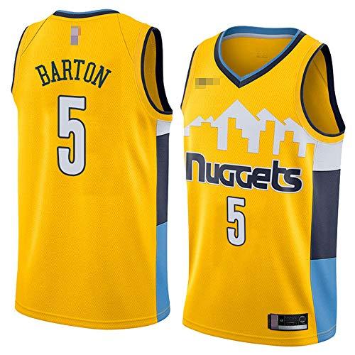 Jerseys De Baloncesto De Los Hombres, NBA Denver Nuggets # 5 Will Barton - Uniformes De Chaleco Transpirable Suelto Uniformes Classic Comfort Camiseta Sin Mangas Tops,Amarillo,M(170~175CM)