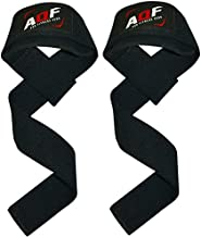 AQF Weight Lifting Straps Neoprene Padded Wrist Support, Crossfit Training Hand Bar Straps Bodybuilding Powerlifting Fitness Exercise Grips (Black)