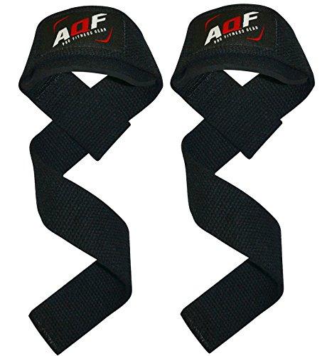 AQF - Cinghie imbottite per il sollevamento pesi realizzate in cotone pesante, un attrezzo molto economico ed efficace per l'allenamento. AQF polsiere palestra straps avere imbottitura in neoprene garantisce un maggiore comfort durante il sollevament...
