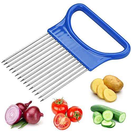 THETAG Zwiebelschneider,Gemuseschneider Maschine Shrendders & Slicer, Tomate, Zwiebel Zitrone Gemüse Slicer Schnitthilfe Halterführung Slicing Cutter Sicher Gabel(Blau)