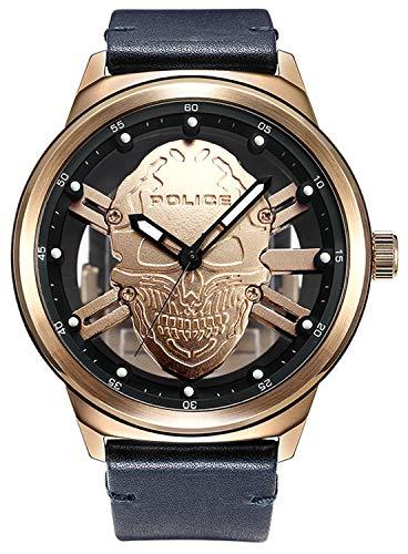 Police Watches Predator Herren Uhr analog Quarzwerk mit Leder Armband PL.14685JSR-67