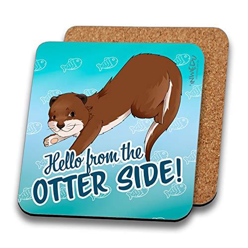 INWIEDU - Untersetzer Otter Murphy mit Spruch: Hello from The Otter Side - MDF mit Kork Rückseite - 95 x 95 x 3 mm
