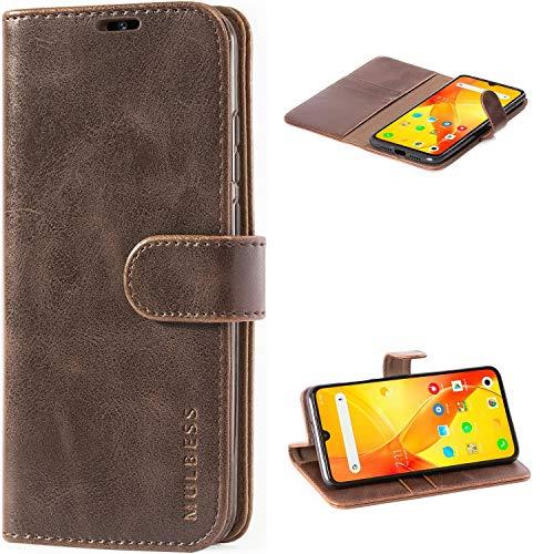 Mulbess Handyhülle für Xiaomi Mi 9 Hülle Leder, Xiaomi Mi 9 Handy Hüllen, Vintage Flip Handytasche Schutzhülle für Xiaomi Mi 9 Hülle, Kaffee Braun