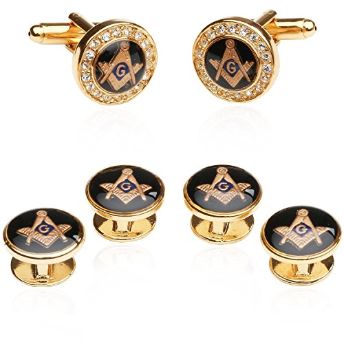 Mens Freemason Crystal Gold Tone Masonic Formal Set Cufflinks and Studs with Presentation Box