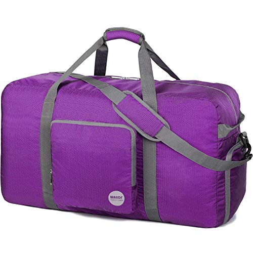 28' Foldable Duffle Bag 80L for Travel Gym Sports Lightweight Luggage Duffel By WANDF (28 inches (80 Liter), Purple 28'')