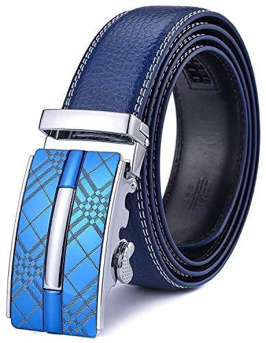 Xhtang Ceinture pour Homme en Cuir Véritable avec Boucle Automatique - Bleu - Longueur:125cm