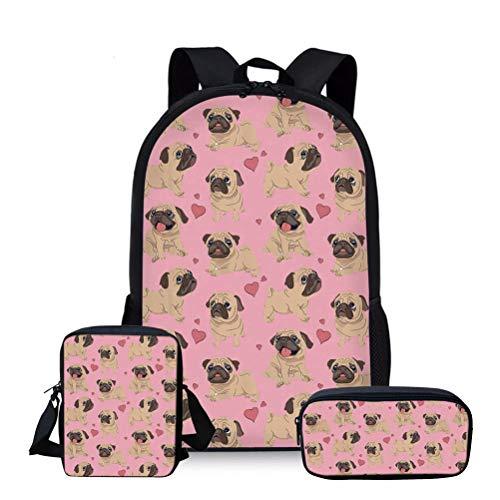 Showudesigns - Mochila escolar para niños y niñas con bandolera y estuche para lápices Rosa Perro de carlino rosa One_Size