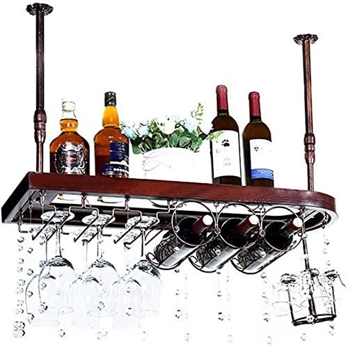 Estante para vinos, Bar, Restaurante, Colgante, Estante para copas de vino, Estantes para copas de madera maciza Porta botellas de vino para colgar en el techo Cubilete de metal al revés, 80 × 28Cm,