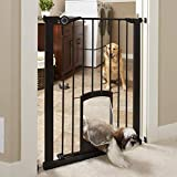 MYPET North States 38' wide 36' tall Petgate Passage: Extra tall secure pet gate with small lockable doggy door. Pressure Mount. Fits 29.8'-38' wide (36' tall, Matte Bronze)