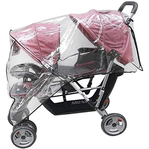 Universal Twins Tandem Stroller Raincover, Rainproof Dustproof Windproof Pushchair Stroller Buggy Pram Large Throw Over Rain Cover Windshield with Canopy and Zipper Door for Double Carrycots Prams