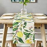 Bateruni Früchte Zitronen Tischläufer, Blumen Rechteckige Tischwäsche Matte, Hitzebeständig rutschfest Tischset für Esszimmer Party Urlaub 35 * 180cm