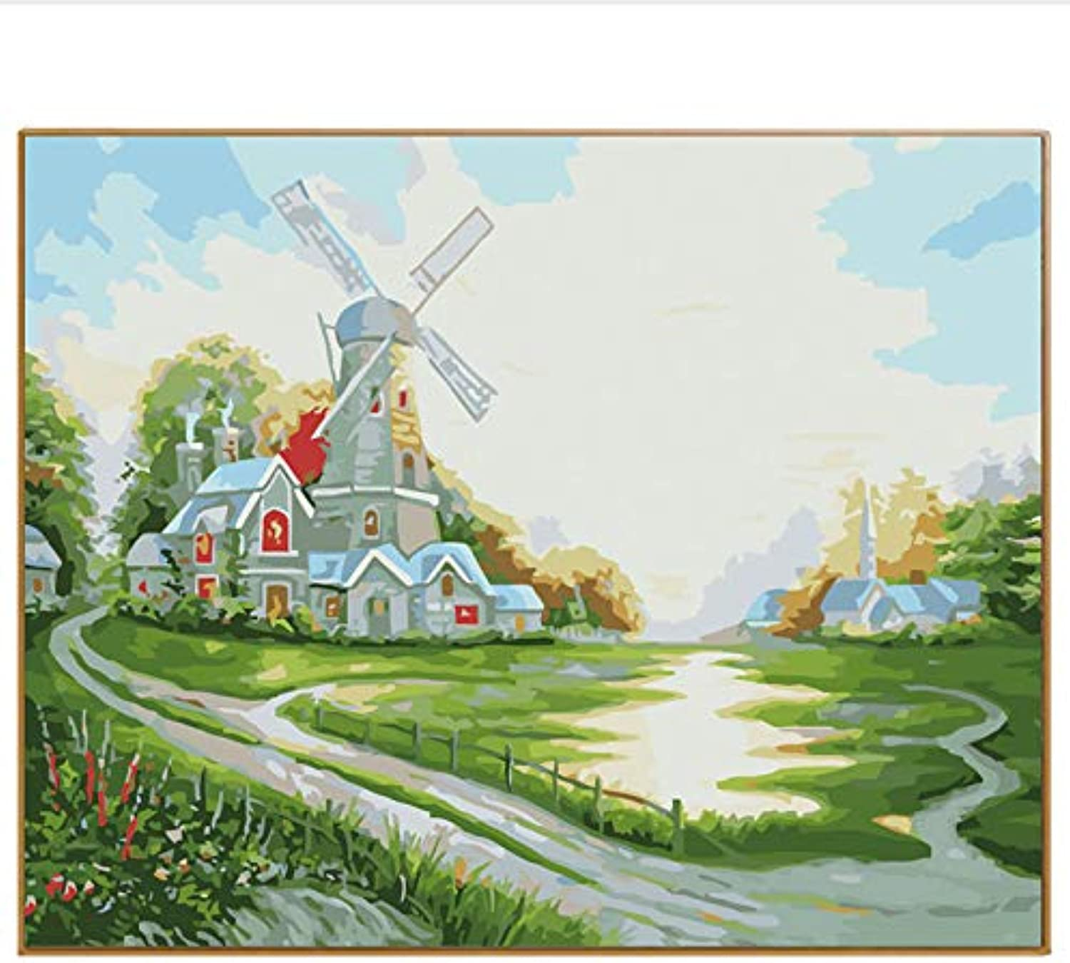 DIY Wall Pictures For Living Room Modern Landscape Windmill Oil Painting By Numbers Kits Drawing Paint On Canvas Wall Art, Framed, 50x60cm