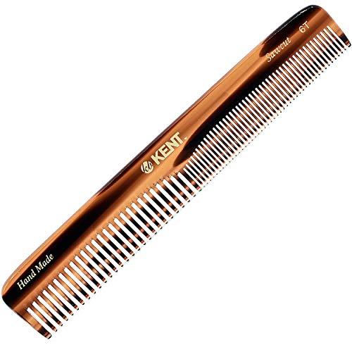 Kent 6T 6.9 Inch Double Tooth Hair Dressing Comb, Fine and Wide Tooth Dresser Comb For Hair, Beard and Mustache, Coarse and Fine Hair Styling Grooming Comb for Men, Women and Kids. Made in England