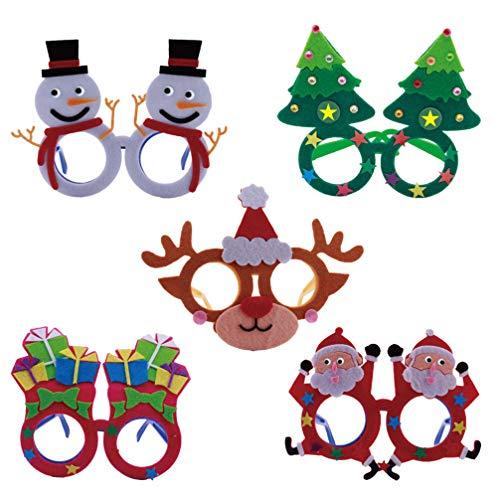 Amosfun 5 Stks DIY Kerst Brillen Handgemaakte Kerstmis Zonnebril Xmas Kostuum Oogkleding voor Kinderen