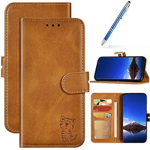 URFEDA Kompatibel mit iPhone 6/6S Handyhülle Handytasche,Flipcase 3D Katze Schutzhülle Bookstyle Brieftasche Kartenfächer Magnetverschluß Klapphülle Leder Tasche Wallet Etui,Gelb