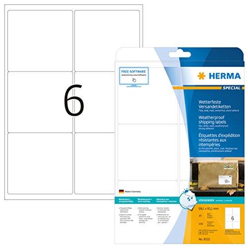 HERMA 8332 Wetterfeste Folien-Versandetiketten DIN A4 (99,1 x 93,1 mm, 25 Blatt, Polyesterfolie, matt) selbstklebend, bedruckbar, extrem stark haftende Adressaufkleber, 150 Klebeetiketten, weiß