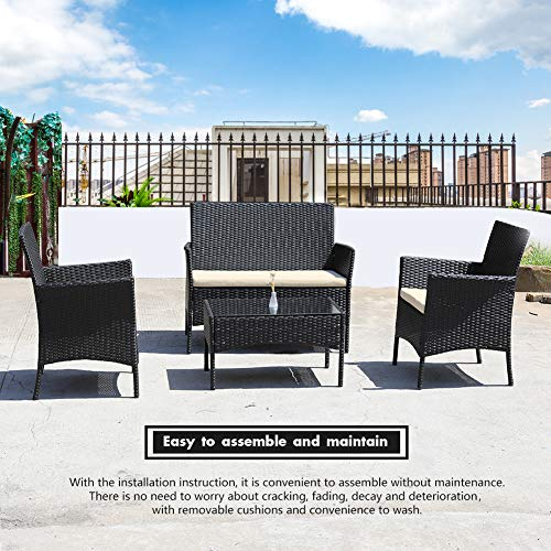 DIMAR GARDEN 4 Pieces Outdoor Patio Furniture Set Rattan Wicker Coffee Table and Chair, Porch Conversation (Black)
