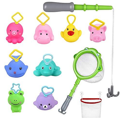 Lictin Juguetes de Baño para Niños- 10PCS Juguetes de Piscina Bebés con Caña de pescar y Bolsa de Almacenamiento, Juguete de Pesca Seguro sin BPA para Niños Bebés
