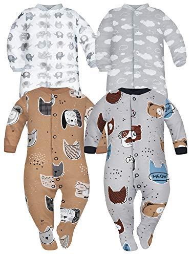 Sibinulo Niño Niña Peleles con Pies Antideslizantes Mamelucos, Pijama Tam. 12 a 18 Meses, Pack de 4 Beige, Gris Animales, Nubes, Elefantes 86