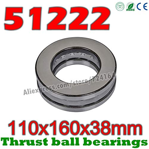 Ochoos 110x160x38 mm Thrust Ball Bearings 51222 Axial 51222M 8222 8222H Plane 11016038 Steel or Brass cage Wholesale - (Length: 1pcs 51222)