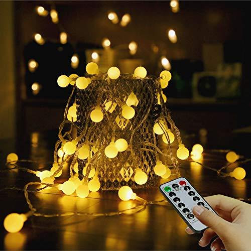 Luces de hadas LED Cadena de luces impermeables portátiles para exteriores e interiores 5,5 m, 50 unidades, con mando a distancia, bodas, fiestas, decoración de Navidad (blanco cálido, batería)