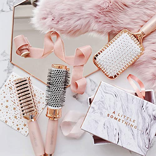 Rose Gold Hair Brush Set - Luxury Professional Hairbrushes Gift for Detangling, Blow Drying, Straightening - Suitable for All Hair Types by Lily England