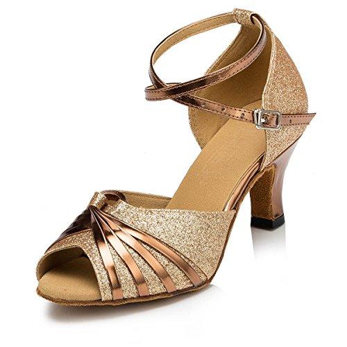KAI-ROAD Ballroom Dance Shoes Women 2.5 inch Heel Wedding Shoe Salsa Latin Dance Heels for Practice, Gold (8 M US)