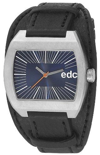 Edc Herren-Armbanduhr tough belt - midnight black, blue Analog Quarz Leder EE100821003