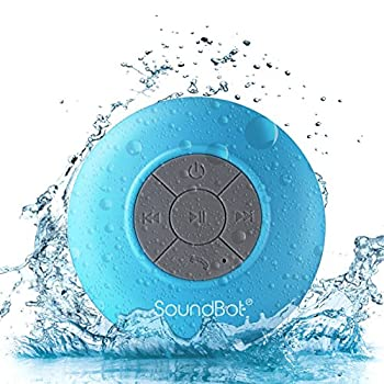 SoundBot SB510 HD Water Resistant Bluetooth 3.0 Shower Speaker Handsfree Portable Speakerphone with Built-in Mic 6hrs of playtime Control Buttons and Dedicated Suction Cup  Blue