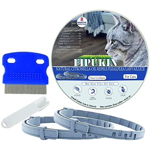 Flea and Tick Collar for Cats, Natural and Safe Flea and Tick Collar for Cats, 2×8 Months Protection, Waterproof, One Size Fits All, 2-Pack, Charity!