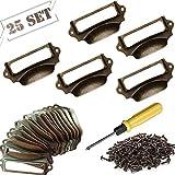 25 tiradores para etiquetas, con asa, estilo vintage, para cajón, armario de farmacéutico, archivador, armario de oficina, cajón, 70 x 30 mm, incluye tornillos y destornillador.