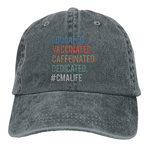 Yearinspace Educado Vacunado Descafeinado Dedicado CMA Life Unisex Soft Casquette Cap Vintage Ajustable Retro Basebal