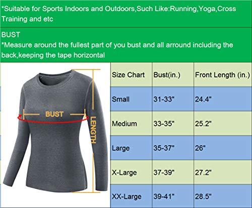 Neleus Women's 3 Pack Dry Fit Athletic Compression Long Sleeve T Shirt,Black,Grey,White,Medium