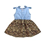 Kucnuzki 12-18 Month Girl Clothes Summer Toddler Girl Dresses Sleeveless Girls Denim Dress Leopard Skirt Boutique 12-18 Months Girl Clothing