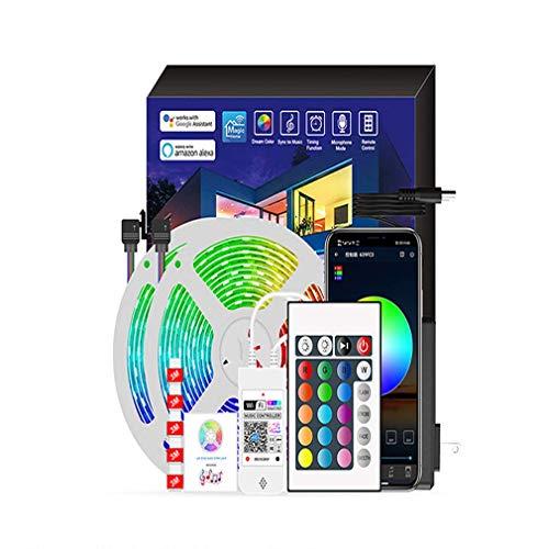 QREZ Tira Led RGB 5M, Luces Led Smart 5050 Control App Habitacion con Controlador WiFi Sincronizar Música 44 Teclas Control Remoto RF Luz De Ambiente para El Hogar Dormitorio Habitación TV Fiesta,20M