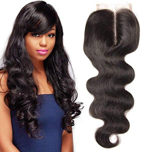 UNICE Hair Body Wave Lace Closure Middle Part Brazilian Unprocessed Virgin Human Hair 4x4 Lace Closure Natural Black Color (16inch)