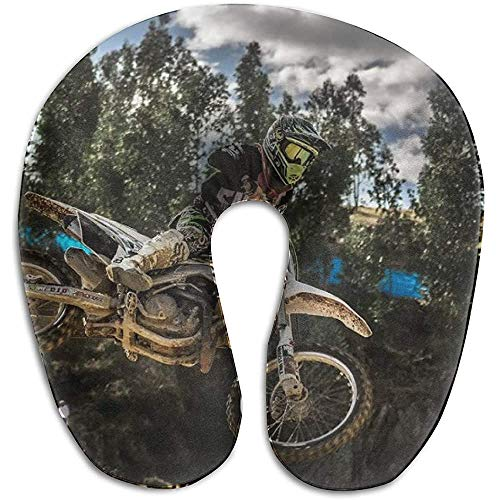 Almohada de espuma viscoelástica en forma de U, cojín de alivio del dolor de cuello para el descanso de la oficina del autobús del automóvil de viaje, regalo ideal para adultos (Motocross Sport Motorc