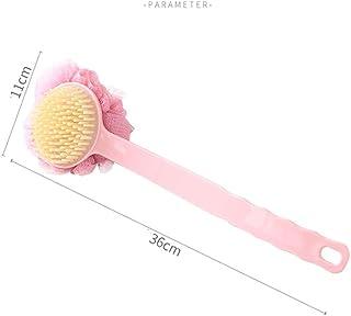 Bath Body Brush - 敏感肌用のソフトファーロングハンドルエクスフォリエーションバックスクラバー付きシャワーボディバックブラシ (色 : ピンク)