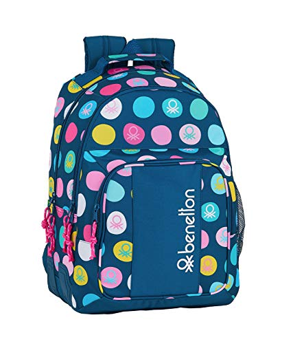 safta 612050773 Mochila Doble con cantoneras Adaptable a Carro Benetton, Multicolor (Topos Marino)