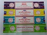 Satya Incense Sticks Set of 4 -- Traditional Ayurveda, Money Matrix Reiki, Seven Chakra By Sterling Effectz