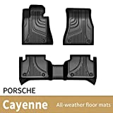 JXAUTO Custom Fit Floor Mats for Porsche Cayenne, Black Heavy Duty TPE All-Weather Floor Liner Compatible for 2019 2020 2021 Cayenne, Includes Front and Back Liners Row Full Set